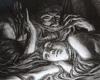La Chevelure, detalj. Illustration till Baudelaires diktsamling De ondas blommor