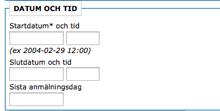 Skärmdump från kalendariet